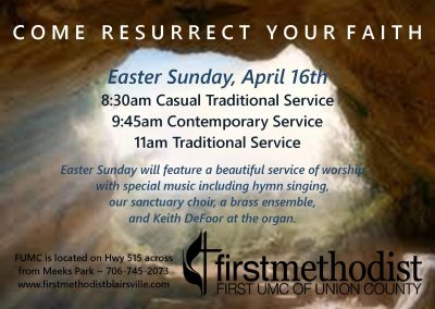 Easter Sunday Schedule